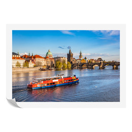 Wholesale river digital - HD Landscape Photo Giclee Printing The Boat on The Vltava River Canvas Art Prints Modern Cityscape Wall Decor Wholesale Home Goods
