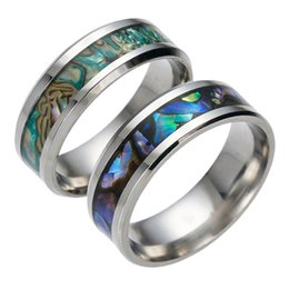 Wholesale Titanium Abalone Ring - Mens Womens Titanium Steel Polished Wedding Colored Abalone Shells Ring Gift Engagement Band Rings 2 Colour Select USA Size (From 6 # To 13