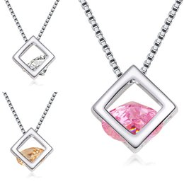 Wholesale Women Sterling Silver Necklace - 925 Sterling Silver Plated Cubic Zirconia Box Necklace CZ Diamond Crystal Magic Cube Pendants Fashion Jewelry Gift for Women Drop Shipping