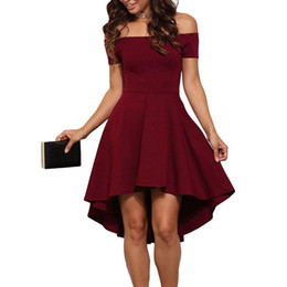 Wholesale Polka Dot Wine - Women wine Black Solid Color Slash Neck A Line Dress Winter Style Off Shoulder Sexy Party Beach Casual Dresses