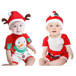Wholesale Christmas Outfits For Babies - Wholesale- Baby Christmas Cloths Outfits Boy Girl Kids Romper + Hat Cap Set Gift for 0-3Y children