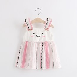 Wholesale Dresses Girls Cute Cartoon - 2 color 2017 Korean style new arrivals Girls Cartoon cute rabbit suspender skirt girl high quality cotton dress casual fashion girl dress