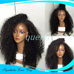 Wholesale Kinky Curls Wigs - Free shipping high Quality heat resistant fiber Afro curl kinky curly Synthetic lace front wig for Black Women