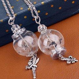 Wholesale Fairy Wish Necklace - Hot Handmade Ball Glass Bottle Dandelion Filled Wishing Bottle Pendant Fairy Anchor Charm Necklace Bottle Hansenne Fit Metal Chain
