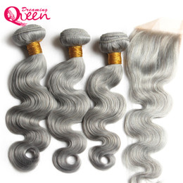 Wholesale brazilian knot hair extension - Grey Color Body Wave Ombre Brazilian Virgin Human Hair Bundles Weave Extension 3 Pcs With 4x4 Lace Closure Gray Color Bleached Knot