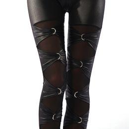 Wholesale Sexy Ladies Night Pants - Wholesale- lady sexy punk rock metal leggings gothic lace up leggings night bar club ring cross legging fake leather riveet pant