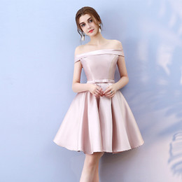 Wholesale One Strap Knee Length - Robe de cocktail Short Prom Cocktail Dresses 2017 elegant Pink off the shoulder Formal party Dresses vestidos de coctel