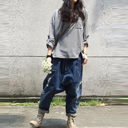 Wholesale crotch holes - Wholesale- Boyfriend Jeans for Women Cross-Pants Distressd Jeans Ripped Loose Fit Supper Low Crotch Cotton Denim Fashion Cargo Pants DD01