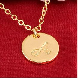 Wholesale Letter O Necklace - 24K Gold GF Stainless Steel Initial Necklace Alphabet A B C D E F G H I J K L M O P Q R S Pendant Best Friend Pendant Necklace