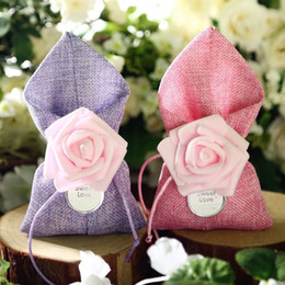 Wholesale Wholesale Party Favors Bags - Free shipping 100pcs lot fabric linen chocolate candy favors holder bags with pink artifical rose for wedding bridal shower wholesales