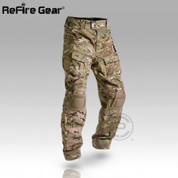 Wholesale Combat Camouflage Uniform - Multicam Camouflage Militar Tactical Pants Army Military Uniform Trouser ACU Airsoft Paintball Combat Cargo Pants With Knee Pads 174