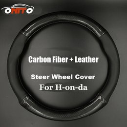 Wholesale Carbon Fiber Steering Wheels - Auto Accessories 380MM car Steer Wheel Cover Carbon Fiber&Leather steering wheel casing for CRV Civic Accord CITY Fit Pilot Crossroad