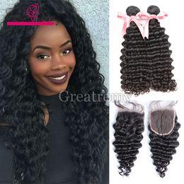 Wholesale 2pcs Bundles Closure - 2pcs Deep Wave Brazilian Virgin Hair Bundles With Top Lace Closure Human Hair Wefts + 1pc Top Lace Closure 4x4 Full Head Greatremy