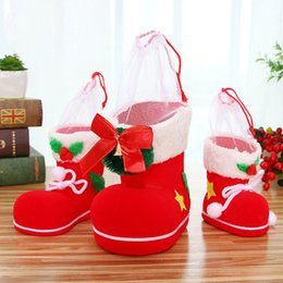 Wholesale Party Supply S - Christmas Plant Velvet PVC Reticule Christmas Boots Pen Container Christmas Decorations Bags Candy Gift Bags Wedding Party Supplies