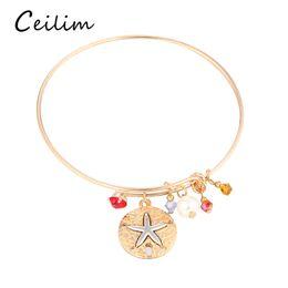 Wholesale Cheap Starfish - Cheap jewelry silver gold plating alloy starfish & cross pendant adjustable expandable bracelets for women rhinestone bead charms bangle
