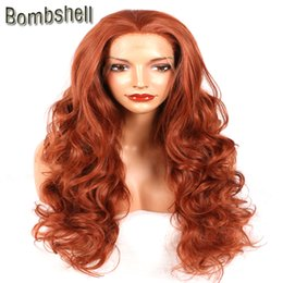 Wholesale Orange Front Lace Synthetic Wig - Bombshell Orange Color 18-28 Inch Long Body Wave Synthetic Lace Front Wig High Temperature Heat Resistant For Black White Women