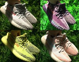 Wholesale Socks Mix - DHL Free 2017 New Blue Tint B37571 v2 boost 350 shoes Yellow Zebra yebra B37572 With Box receipt socks Keychain Mix colors