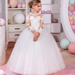 Wholesale Sexy Little Children - Top Quality Pageant Dresses For Little Girls Long Sleeve Ball Gown Sexy Children Images Flower Girl Dresses Kids Prom Dresses