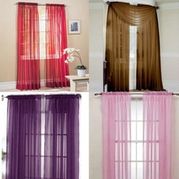 Wholesale Window Drape Style - Multi-Styles Door Window Curtains Drape Panel or Scarf Assorted Scarf Sheer Voile Curtains For Bedroom Curtain