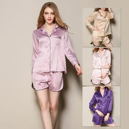 Wholesale Princess Pajamas Ladies - Wholesale Silk Pajamas set 2017 New Princess Silk Pajamas Nightwear female Sexy Lady Two Piece Suit Home Furnishing Pajamas for Women