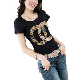 Wholesale Shirts Mujer - T Shirt Women Brand 2017 Summer Style Ladies O-Neck Short Sleeve Print Channel T-Shirt Femme Cotton Tops Tees Camisetas Mujer M-2XL