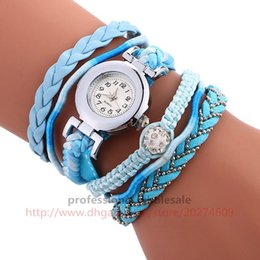 Wholesale Plastic Round Beads Mm - Colorful Braid Nail Bead Bracelet Woven Twist Strap Watch Wristwatch High Quality Gift Wholesale 5 Colors