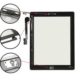 Wholesale Ipad4 Digitizer - For iPad 4 Touch Screen Digitizer Glass for iPad4 A1458 A1459 A1460 Touch Panel Black White Color + 3M Adhesive + home button