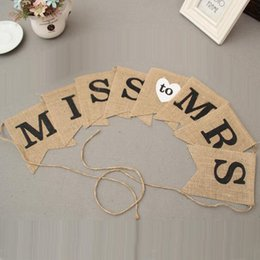 Wholesale Rustic Wedding Banner - MISS MRS Jute Flag Pennant Rustic For Wedding Birthday Party Decoration Photography Props Decor Banner ZA3200