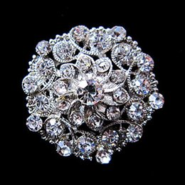Wholesale Black Rhinestone Flower Brooch - Mix Design Sparkly Silver Plated Brooch Pins With Clear Crystal Rhinestone Small Size Flower Brooches and Pins