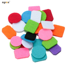 Wholesale Necklaces For Lockets - Wholesale Colorful Round  square  rectangle Felt Pads for 25mm 30mm Essential Oil Diffuser Perfume Locket Aromatherapy Pendant Necklace
