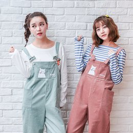 Wholesale Corduroy Overalls Women - Wholesale- Mori Girl Autumn Fashion Women Casual Pants Cute Corduroy Rompers Preppy Style Cat Embroidery Loose Overalls Female Trousers