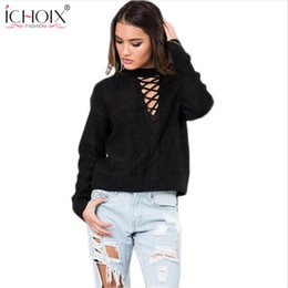 Wholesale Ribbed Belts - Wholesale-ICHOIX Lace up Autumn sweater women Casual loose belt ribbed top knitwear Sexy sweater jumper Elastic hem pullover outwear