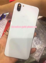 Wholesale Iphone Back Glass Logo - For iPhone 6 6S Plus Rear Housing Like iPhone X Style Battery Door Black Red Metal Glass Back Cover with Logo Side Keys with outlooking