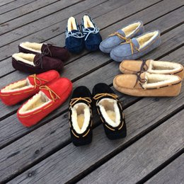 Wholesale High Street Fashion Shoes - 6 colors 2016 winter snow boots thick crust Martin boots lace street classic warm cotton boots women's flat shoes