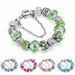 Wholesale Green Glass Bangles - Twelve constellations Crystal Glass Beads Bracelets Bangles Silver Plated Charm for Women Original DIY Jewelry Gift AA163