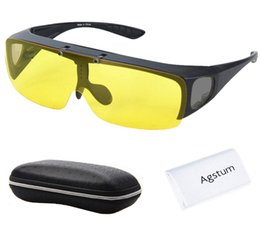 Wholesale Over Sunglasses - Wholesale- Agstum Fit Over Wrap Around Eyeglasses Prescription Glasses Polarized Night Driving Flip up Night Vision Sunglasses Goggles