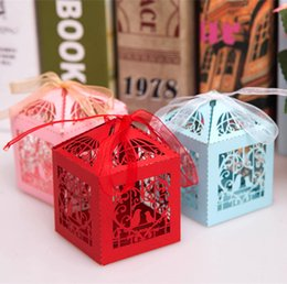 Wholesale Lovebirds Favor - Wholesale-50pcs Lovebirds Wedding Decoration Gold Laser Cut Candy Box With Ribbon Baby Shower Party Favor Gifts Chocolate Boxes For Guests