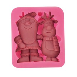 Wholesale Santa Claus Candles - Christmas Snowman Santa Claus Silicone Fondant Cake Mold Soap Candle Chocolate Candy Mould Moulds DIY Decorating Baking Kitchen Tools