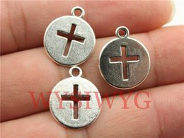 Wholesale Cross Cut Off - Wholesale-WYSIWYG 9pcs 15mm antique silver plated cut-off cross charms