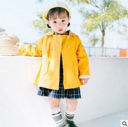 Wholesale Trench Coat Unisex Wholesale - Children outwear girls double breasted trench coat boys cotton lapel leisure cardigan coat fashion new kids autumn clothing T0325