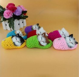 Super Cute Simulazione Sounding Shoe Kittens Cats giocattoli di peluche Kids Appease Doll Christmas Birthday Gifts da