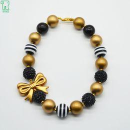 Wholesale Zebra Necklace Beads - Kids Chunky Bubblegum Zebra Beads Necklace Baby Girls Gold Bow Necklace Children Best Friends Gift Princess Jewelry