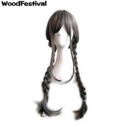 Wholesale Cosplay Grey Hair - WoodFestival harajuku lolita braids wig grey heat resistant fiber wig long women synthetic hair wigs cosplay anime