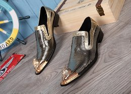Wholesale New Fashion Italian Shoes - New Brand Genuine Leather Italian Men Shoes Fashion Gold Bling Bling Formal Shoes Wedding Business Dress Shoes Men Flats