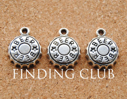 Wholesale Beer Charm Silver - Wholesale-Free Shipping! 30 pcs Antique Silver Alloy Beer Bottle Cap Charms Fit Handcraft Making 19x18mm A887