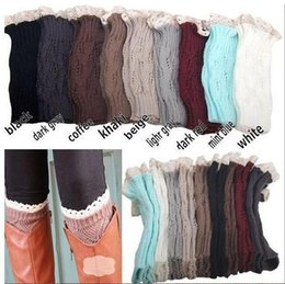 Wholesale Ballet Wholesale - 50Pairs 9 color women Crochet lace boot cuffs handmade Knit leg warmer Ballet lace Boot Cuff Leg Warmers Christmas Boot Socks covers