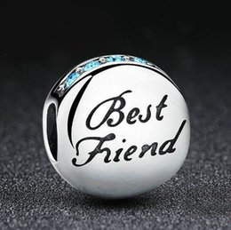 Wholesale Friendship Bracelets Letter Beads - New Fashion Real 925 Sterling Silver Best Friend Beads Charms fit Pandora Bracelets Necklace Friendship Gift