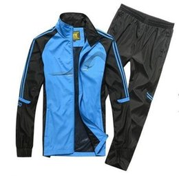 Wholesale Morning Suit White - 2017 Best-selling spring and autumn men sport suit adult early morning runs men tracksuits adult clothing size L-5XL 4 colors 1288.