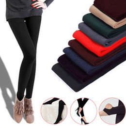 Wholesale Thick Ankle Length Leggings - Fitness leggings for women 2016 winter women's clothing Thick velvet slim anti-hook pants cotton warm leggings