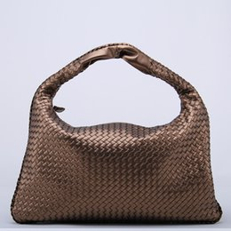 Wholesale Beige Bags Hobo - Wholesale- Brand New Celebrity Ladies Woven Leather Handbag Criss-Cross Hobo Dumplings Bag Women's Knitting Casual Tote